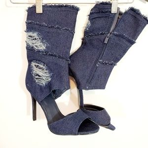 🔥Forever Dark Denim Peep toe ankle Heels. BNWT